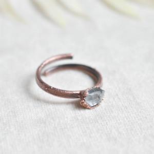 Pure - pierścionek z diamentem herkimer