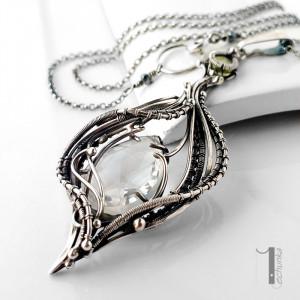 Ravenna srebrny naszyjnik z kryształem górskim