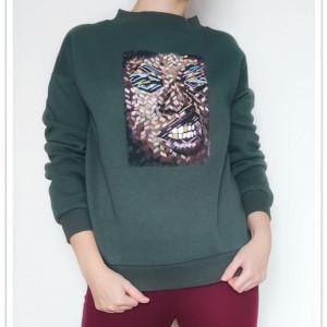 Ręcznie malowana bluza abstrakcja Face