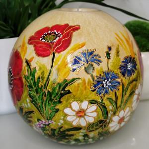 Ręcznie malowana CERAMICZNA kula ŚWIECZNIK kwiaty3