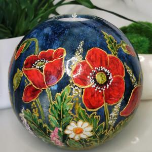 Ręcznie malowana CERAMICZNA kula ŚWIECZNIK kwiaty4