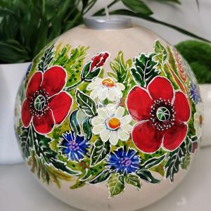 Ręcznie malowana CERAMICZNA kula ŚWIECZNIK kwiaty5