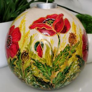 Ręcznie malowana CERAMICZNA kula ŚWIECZNIK maki
