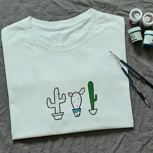 Ręcznie malowana koszulka unisex kaktusy