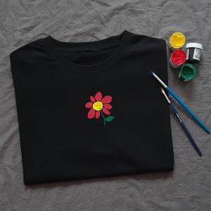 Ręcznie malowana koszulka unisex kwiatek