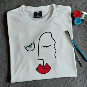 Ręcznie malowana koszulka unisex  red lips