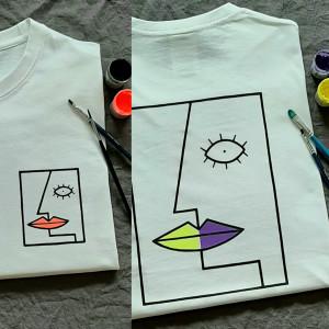 Ręcznie malowana koszulka unisex twarz abstrakcja