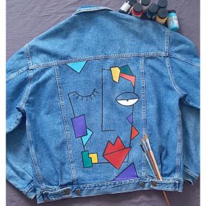 Ręcznie malowana kurtka dzinsowa vintage oversize