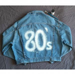 Ręcznie malowana kurtka jeans 80s vintage oversize