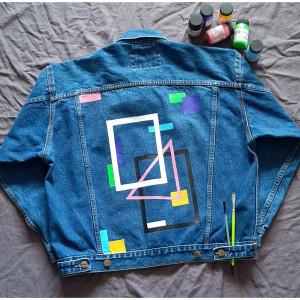 Ręcznie malowana kurtka jeans vintage rozmiar uni