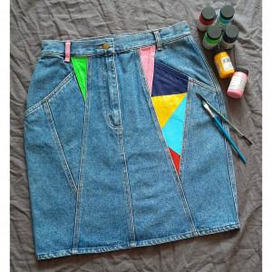 Ręcznie malowana spódnica jeans retro vintage M/L
