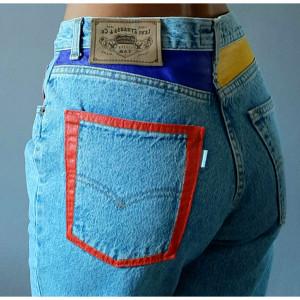 Ręcznie malowane jeansy Levis vintage r. M/L