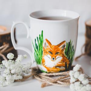 Ręcznie malowany kubek lis