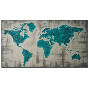 ręcznie malowany obraz  MAPA ŚWIATA - 06 - 96x54cm