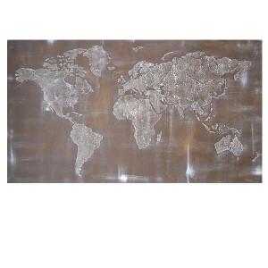 ręcznie malowany obraz  MAPA ŚWIATA -01- 126x70cm