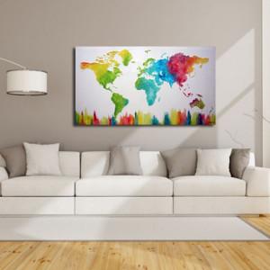 ręcznie malowany obraz  MAPA ŚWIATA -15- 152x84cm