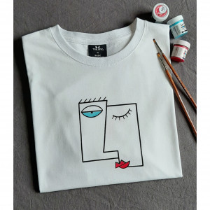 Ręcznie malowany t-shirt abstract face unisex
