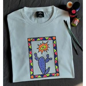 Ręcznie malowany t-shirt unisex kaktus neon