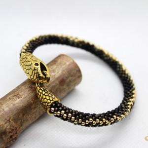 Ręcznie robiona bransoletka z koralików - żmijka