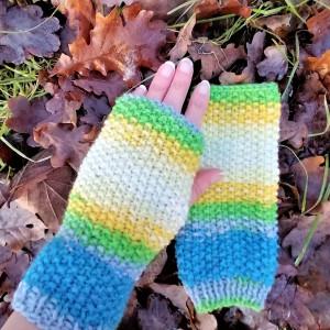 Rękawiczki bez palców, typu mitenki, boho