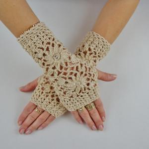 Rękawiczki mitenki beżowe