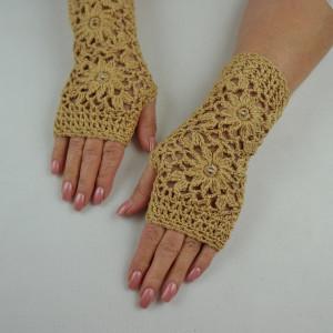 Rękawiczki mitenki złoty beż