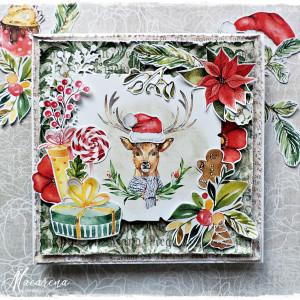 Renifer i prezenty - kartka świąteczna