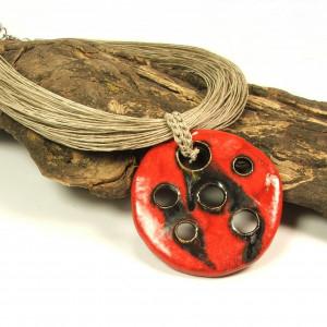 RESANEAL - naszyjnik lniany z ceramiką