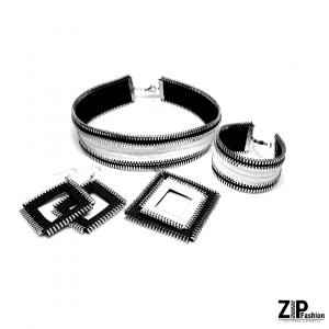 Rockowy biało-czarny komplet biżuterii