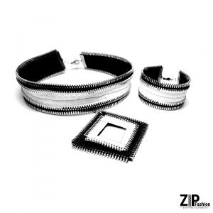 Rockowy czarno-biały komplet biżuterii