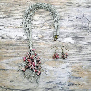 Rodonit - komplet biżuterii lnianej