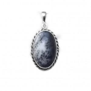 Romantyczny wisiorek agat dendrytowy w srebrze