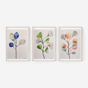 Rośliny-trzy akwarele