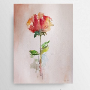Róża-akwarela formatu A4