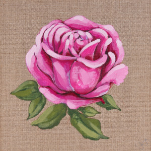 Róża malowana farbami akrylowymi na płótnie