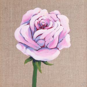 Róża - obraz, akryl na płótnie 20 x 20 cm + ramka