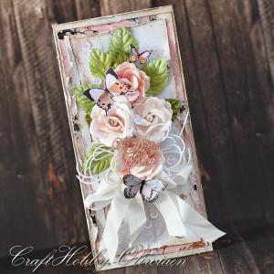 Różany bukiet ślubny z motylami