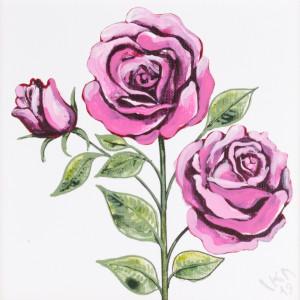 Róże malowane farbami akrylowymi na płótnie