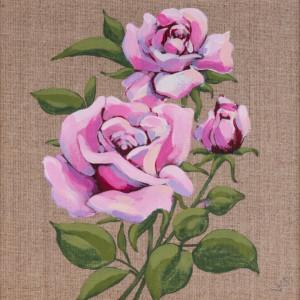 Róże malowane na płótnie w drewnianej ramie