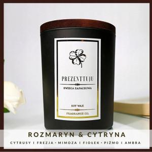 Rozmaryn&cytryna ŚWIECA ZAPACHOWA czarne szkło