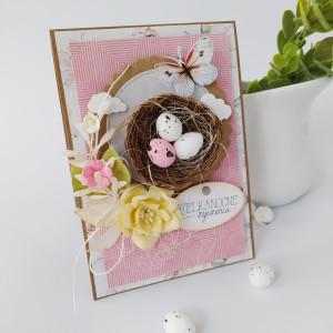 Różowe gniazdko - kartka wielkanocna