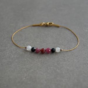 Rubin, spinel, kamień księżycowy.bransoletka