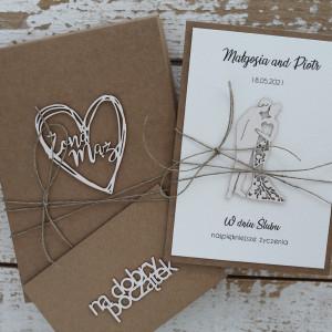 Rustykalna kartka ślubna z pudełkiem i kopertą a