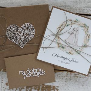 Rustykalna kartka ślubna z pudełkiem i kopertą B1