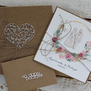Rustykalna kartka ślubna z pudełkiem i kopertą B3