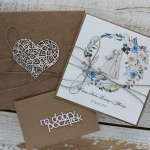 Rustykalna kartka ślubna z pudełkiem i kopertą B4
