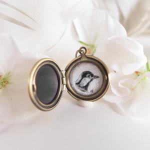 Sekretnik, ptak vintage, ręcznie malowany