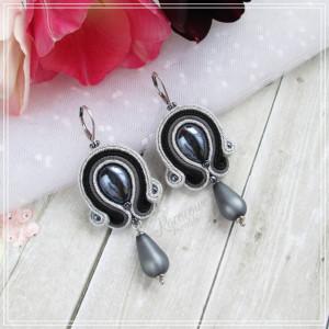Silver & gray - kolczyki sutasz