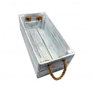 Skrzynka drewniana 15x31,5x11,5 biało - szara.