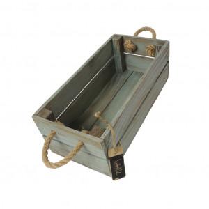 Skrzynka drewniana 15x31,5x11,5 turkus - brąz.
